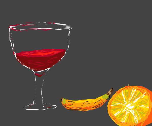 Fruit and wine al fresco