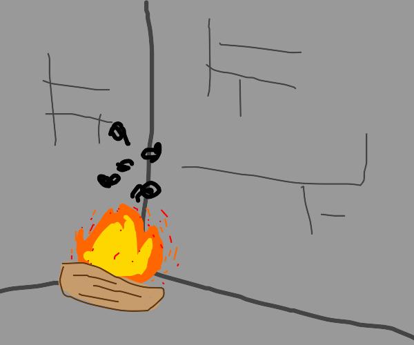 Campfire in a grey stone corner