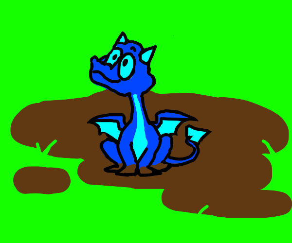Baby dragon sitting in the mud.
