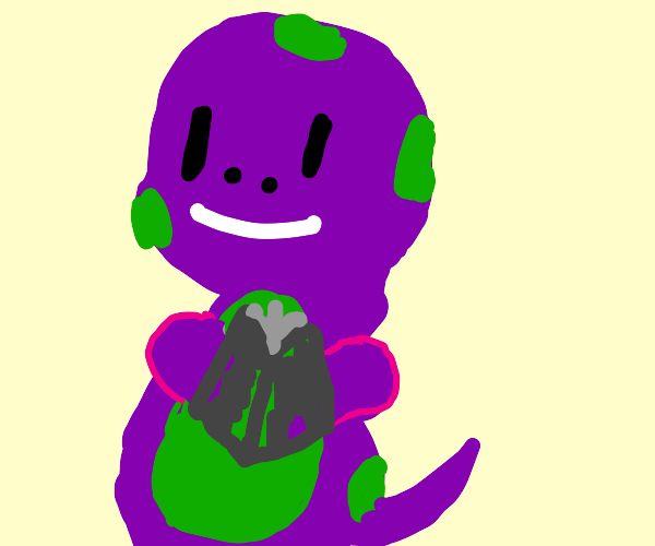 Purple and Green Dinosaur reading a red book