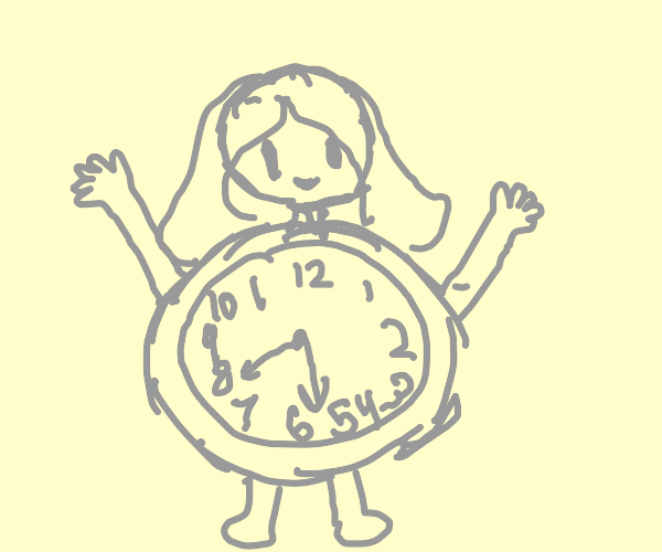 Girl with a clock for a body