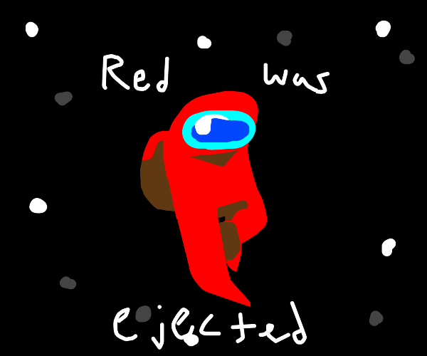 Red from Among Us in space