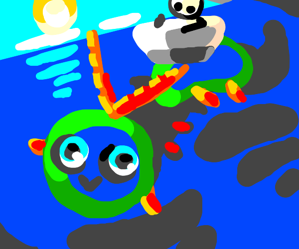Guy on a boat on top of a water centipede