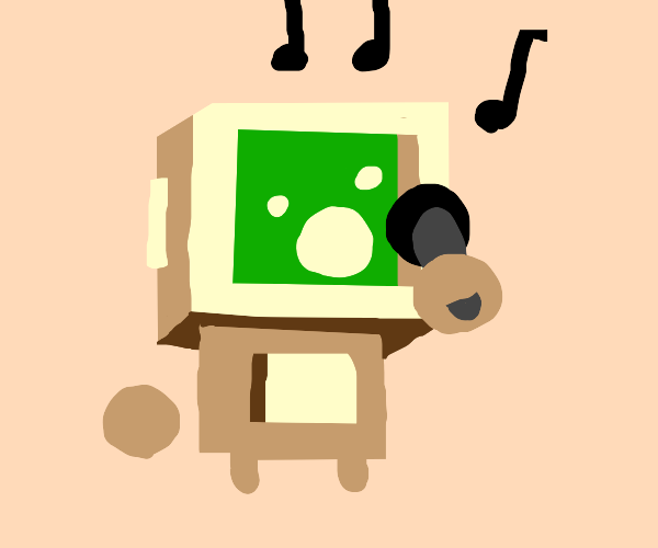 A robot uses a microphone
