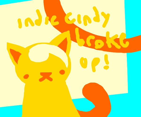 Gold cat says indie Cindy broke up! bruh!