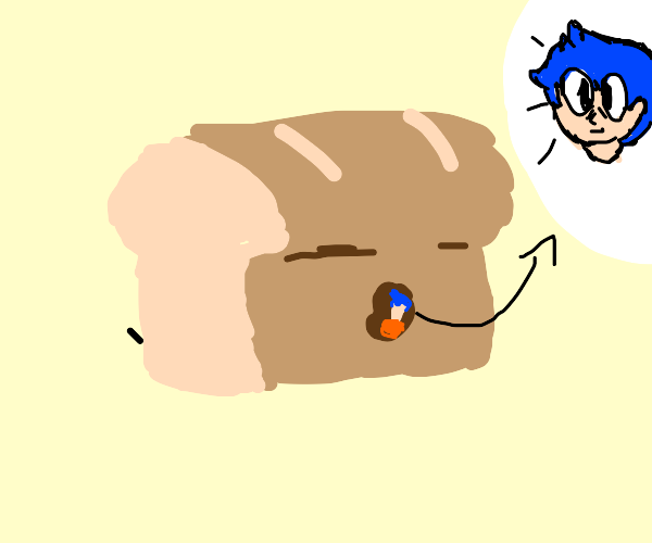 A tiny person with blue hair hiding in bread