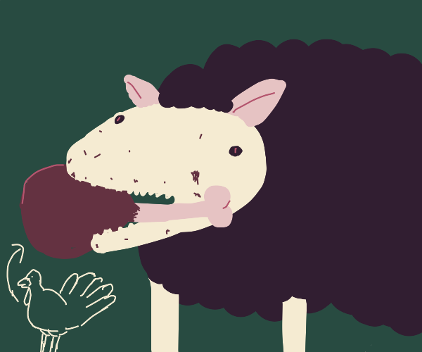 Black sheep devours a turkey leg