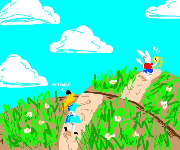Alice in Wonderland: Alice chases the Rabbit