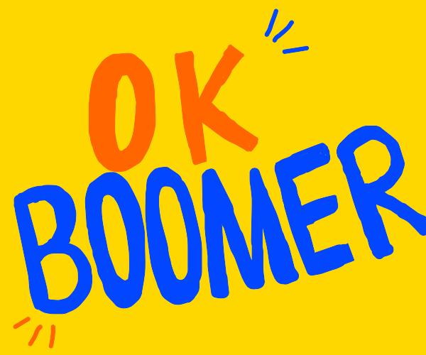 yellow OK BOOMER flag