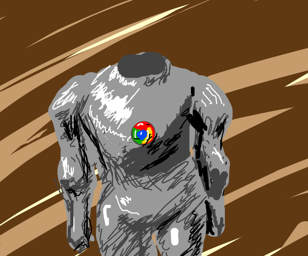 Google chrome in a suit and cane