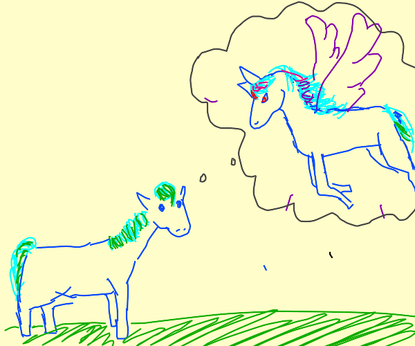 Blue earth pony dreams of being a pegasus