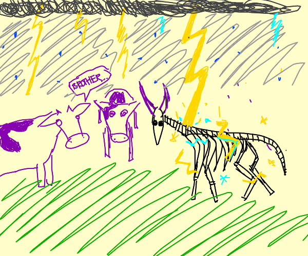 Lightning hits purple cows