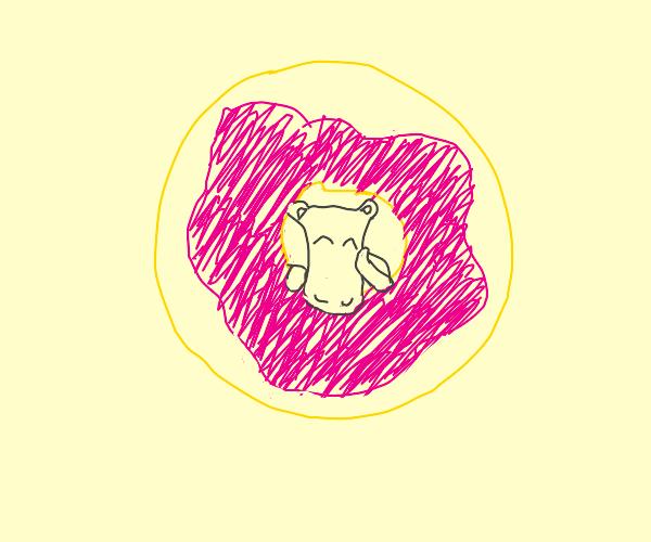Happy hippo inside a donut