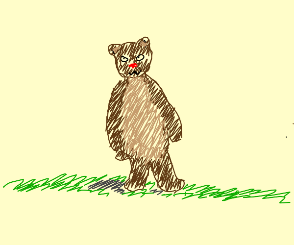 Brown Bear with a red nose