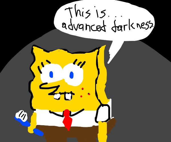 Spongebob in the dark with a toothbrush