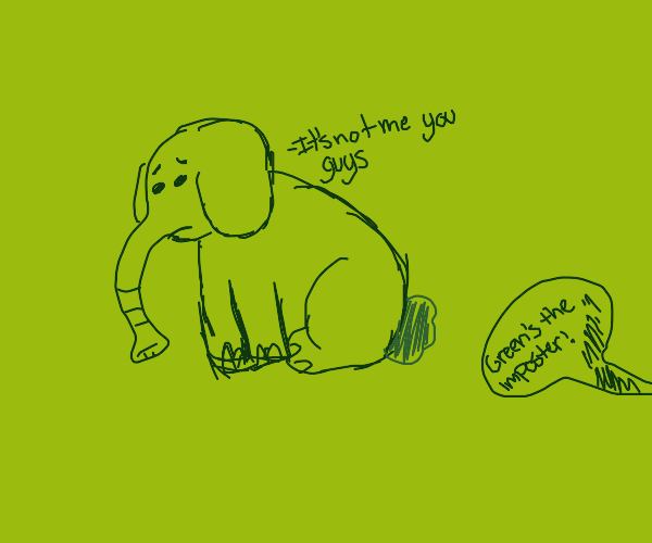 sad elephant with bunny tail called imposter