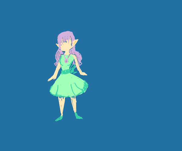 Cutie dressed in green, with a purple locket