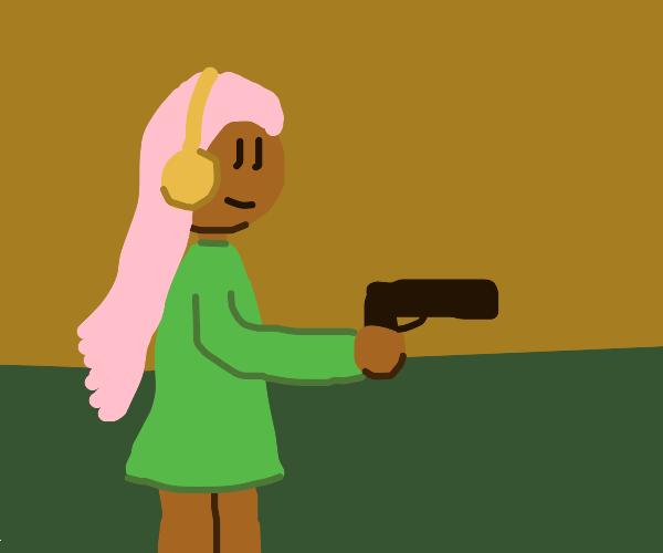 Headphones gal got a gun
