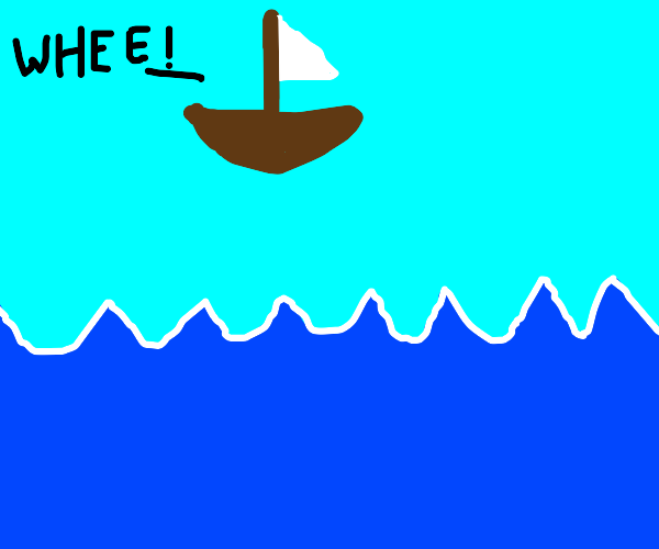 A Sailboat jumping over the Ocean