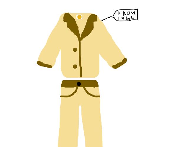 A tan colored vintage suit