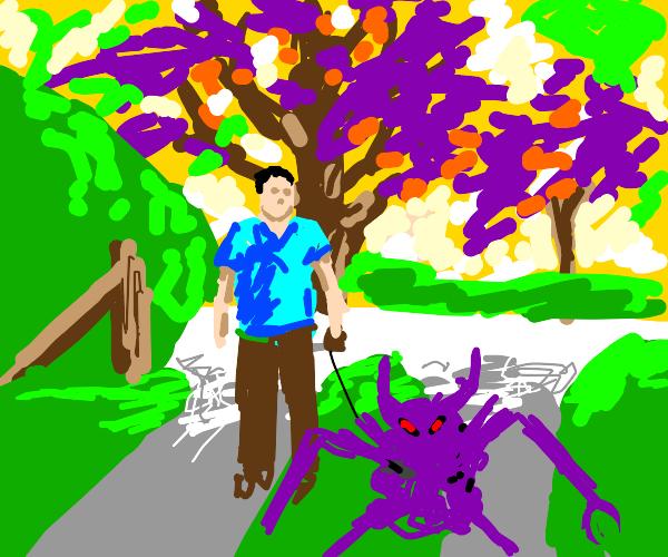 A man is walking a purple monstrosity.