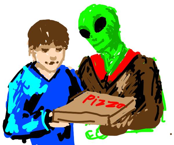 Alien gives little boy a pizza