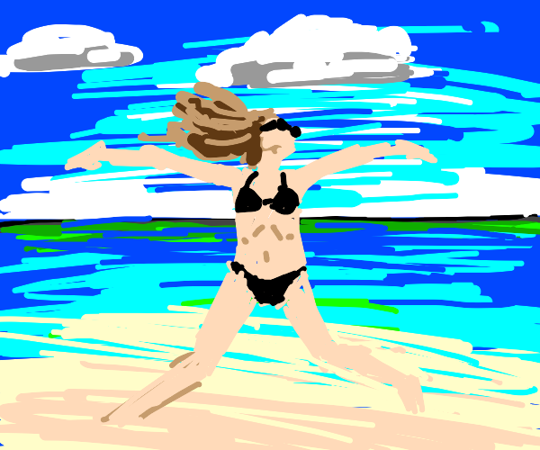 woman at beach rejoices