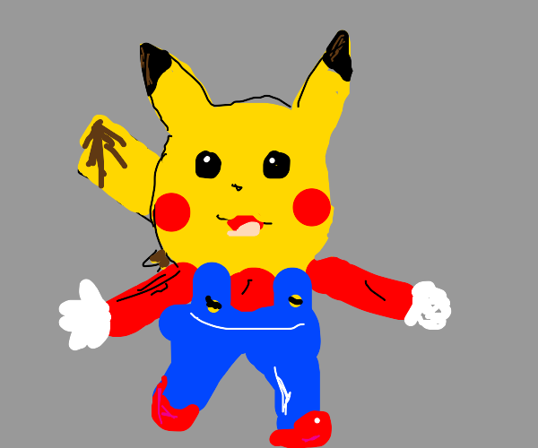 Pikachu Dressed As Mario