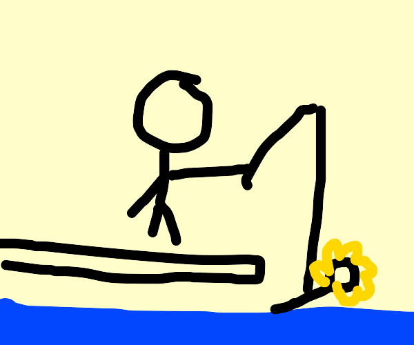 man fishing on the beach with flower as bait