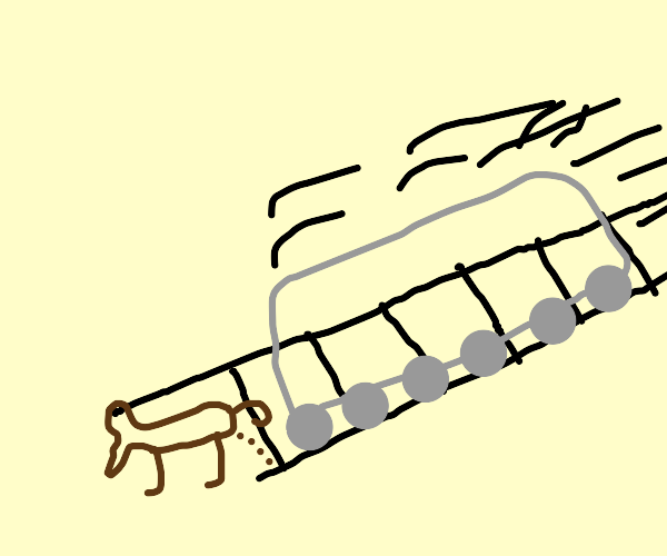 dog getting hit by a train brutily