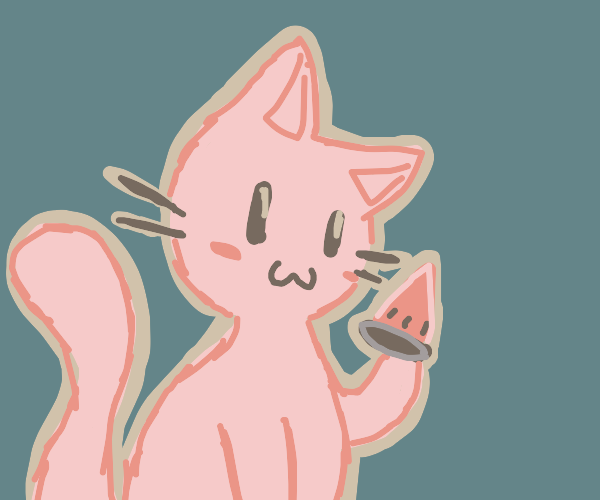 Kitty eats watermelon