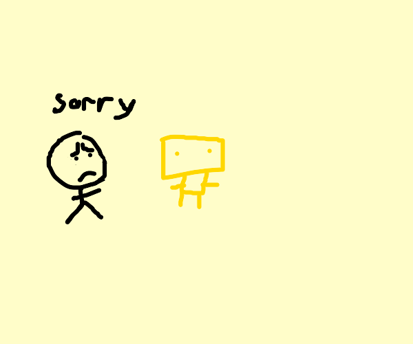 A man apologizes to his self made of butter