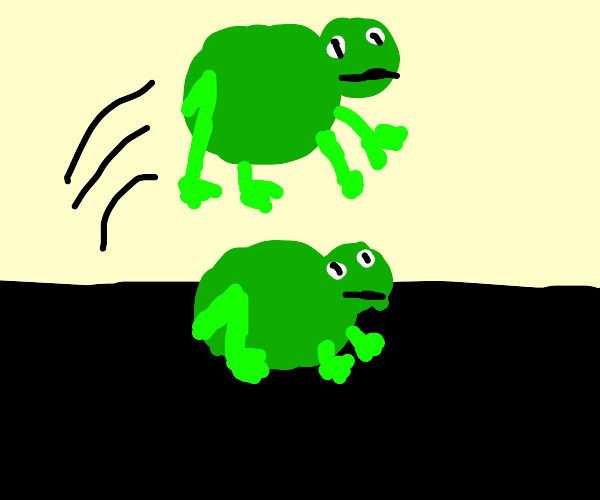 frog hops over another frog