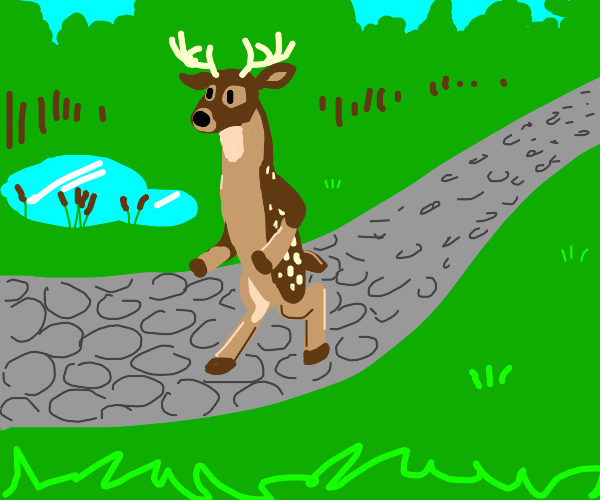 Deer man goes for a walk
