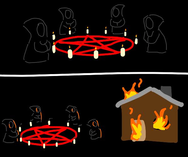 Ritual starts fire