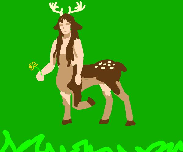 centaur w/ a deer body. w/ horns & long hair