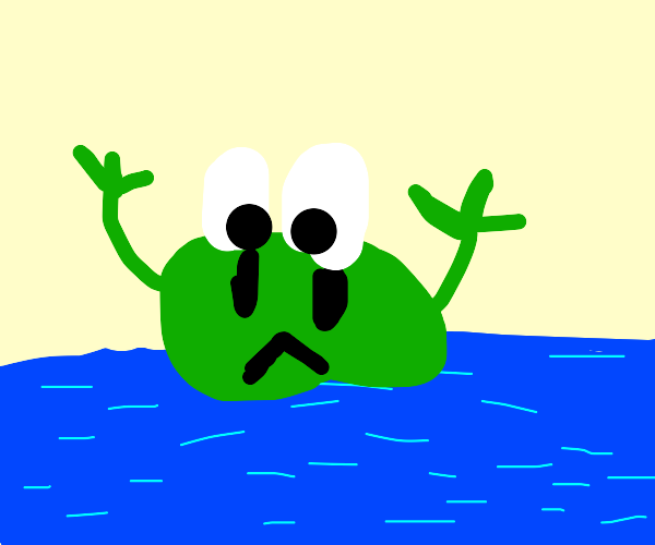 Frog sinking into the Ocean