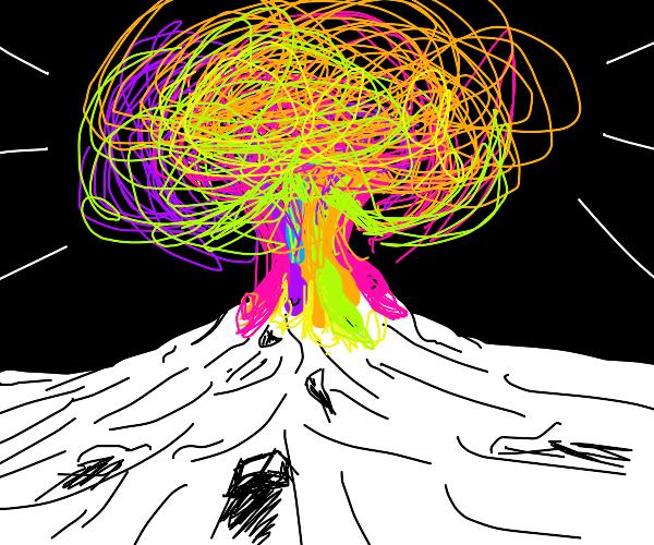 volcano shooting rainbow