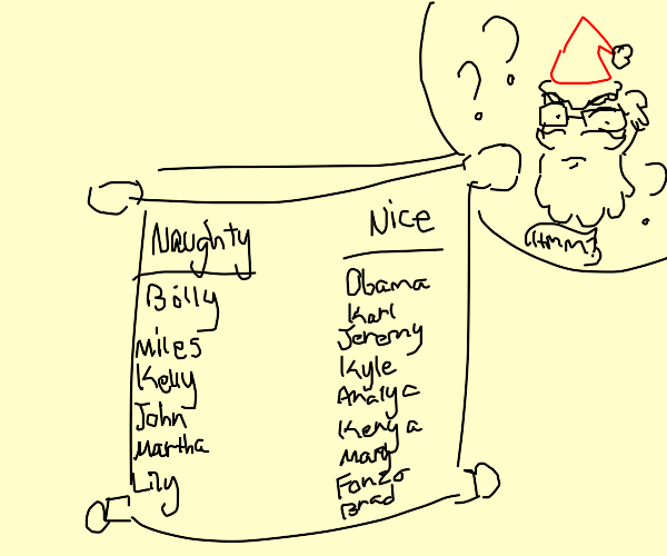 Naughty and Nice list is confusing