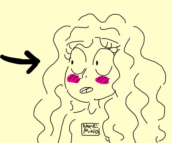 Mina is blushing