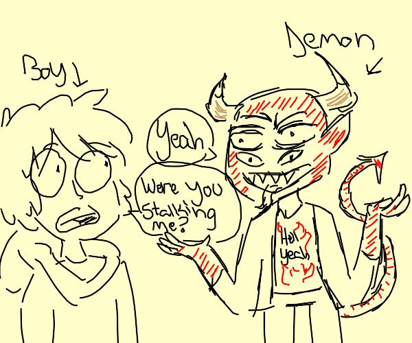 Demon stalking a boy