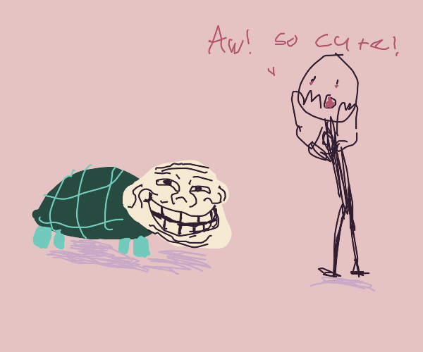 trollface turtle gets aww reaction from some1