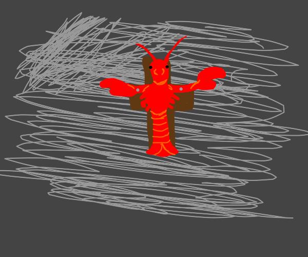 lobster on a cross