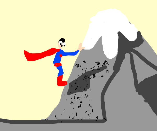 Superman climbs a mountain infested with ants
