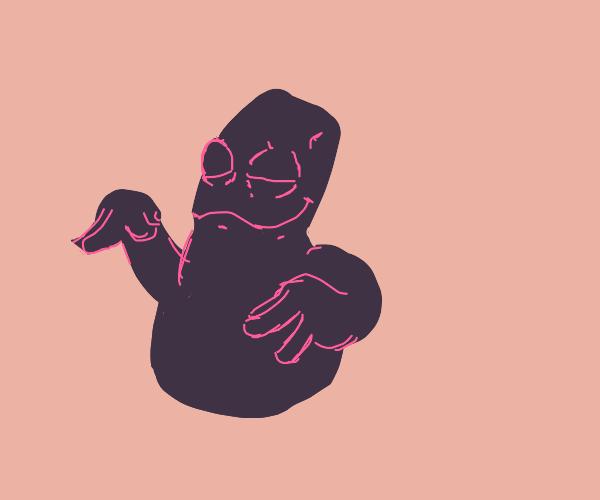 Purple blob man is vibing
