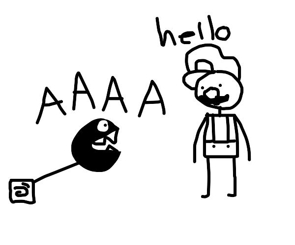 mario and a chain chomp