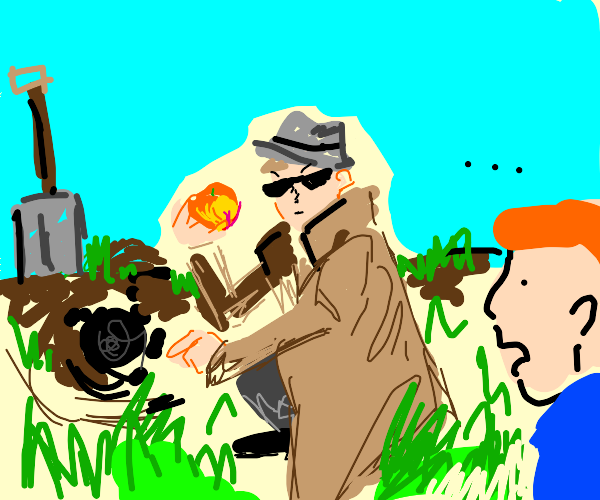 Detective planting a Peach