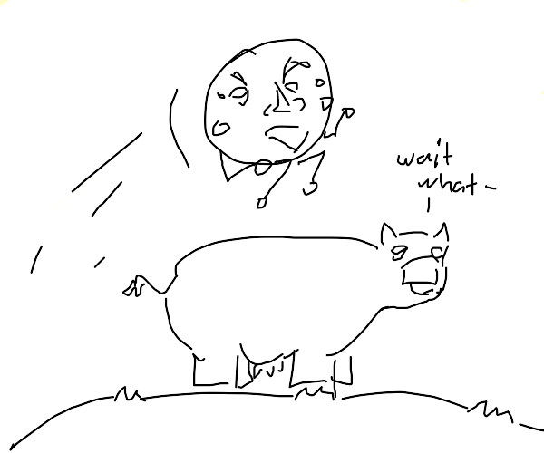 moon rotating around a cow