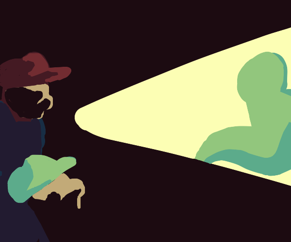 Mario and Luigi see a ghost