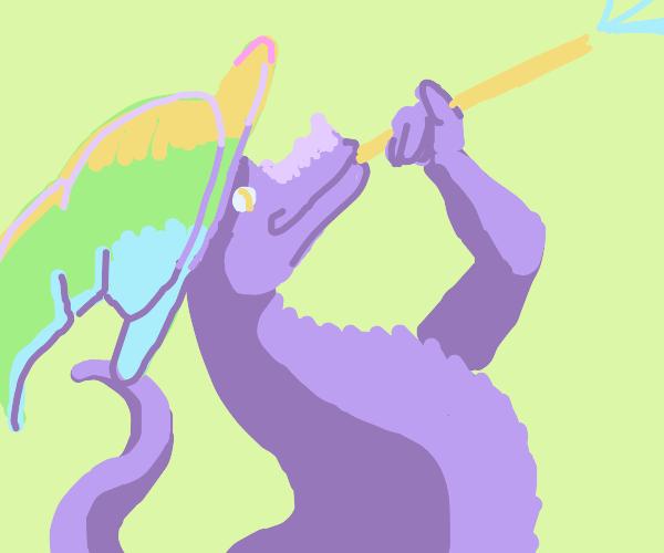 lizard wizard blows on a stick